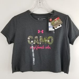 Under Armour GIRLS YXL Tee Shirt Cropped  Camo